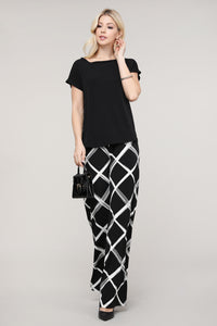 Black and Ivory Windowpane Palazzo Pants