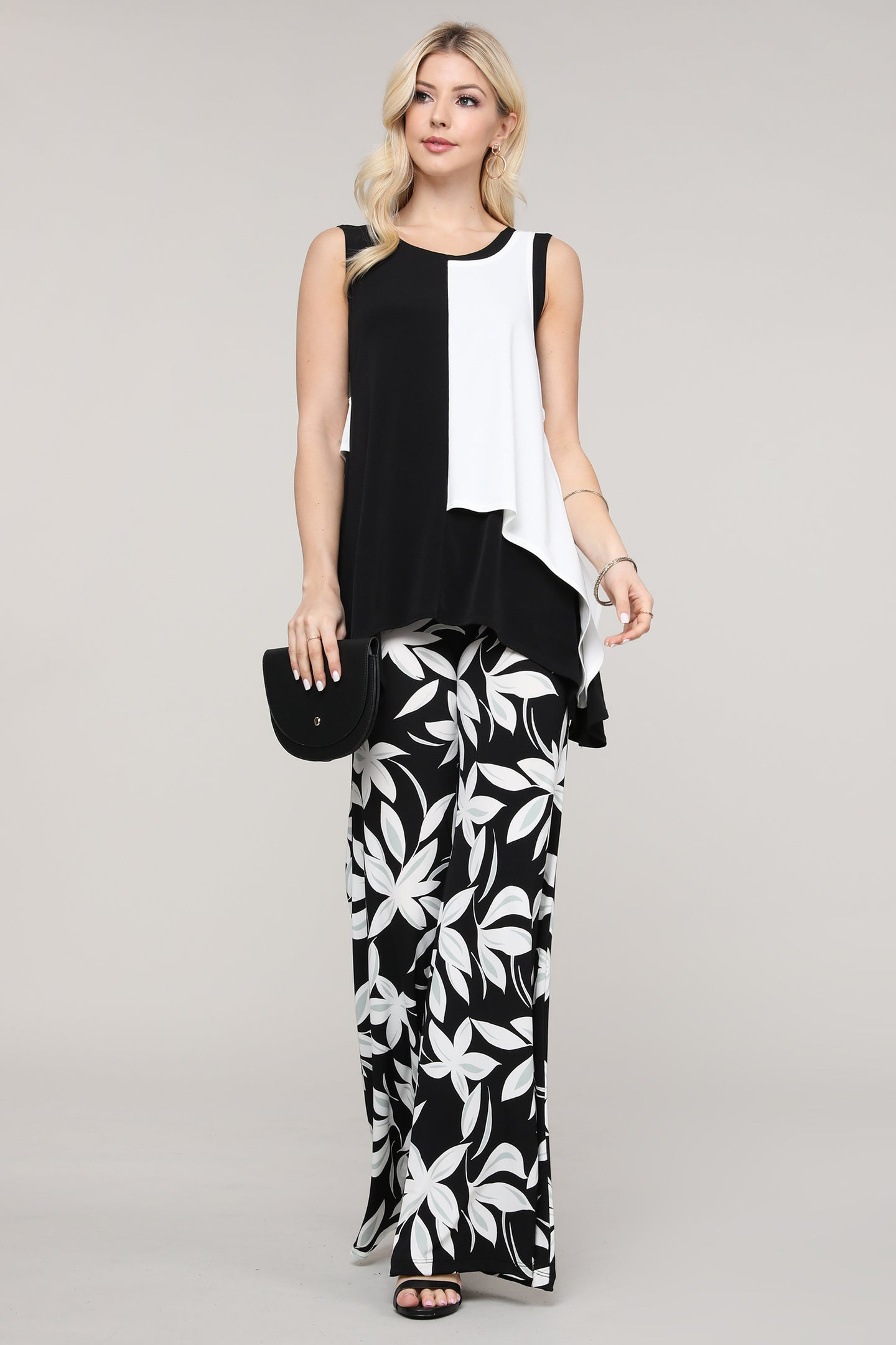 Black Mint and Ivory Floral Wide Leg Palazzo Pants