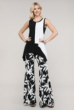 Load image into Gallery viewer, Black Mint and Ivory Floral Wide Leg Palazzo Pants