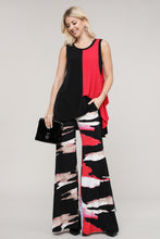 Load image into Gallery viewer, Black and Pink Abstract Wide Leg Palazzo Pants