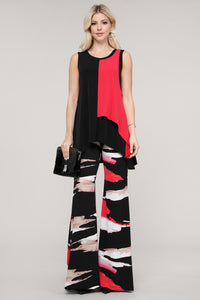 Black and Pink Abstract Wide Leg Palazzo Pants