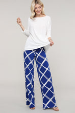 Load image into Gallery viewer, Royal Blue and Ivory Windowpane Wide Leg Palazzo Pants