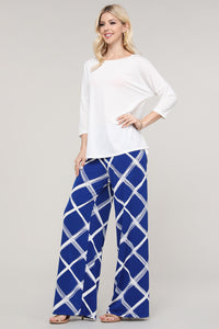 Royal Blue and Ivory Windowpane Wide Leg Palazzo Pants