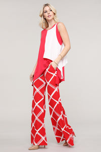 Red and Ivory Windowpane Wide Leg Palazzo Pants