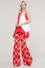 Load image into Gallery viewer, Red and Ivory Windowpane Wide Leg Palazzo Pants
