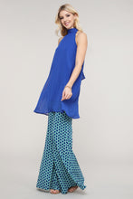 Load image into Gallery viewer, Blue and Green Geometric Wide Leg Palazzo Pants