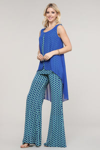 Blue and Green Geometric Wide Leg Palazzo Pants