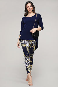 Navy & Ivory Abstract Print Leggings