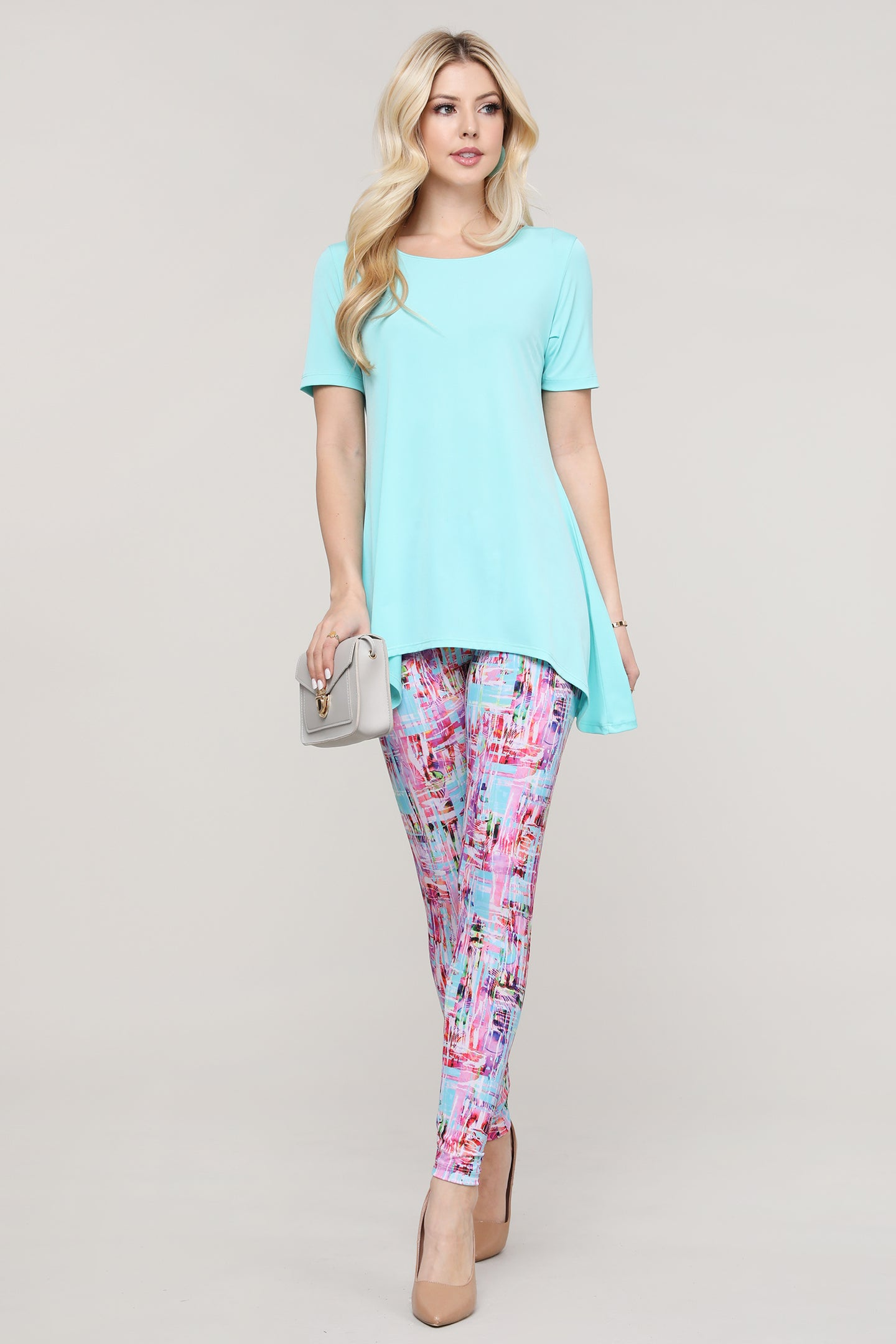 Pink and Aqua Abstract Leggings
