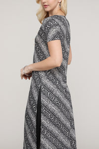 Animal Abstract Split-Hem Tunic