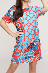 Coral & Blue Abstract Short-Sleeve Dress