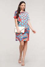 Load image into Gallery viewer, Coral & Blue Abstract Short-Sleeve Dress