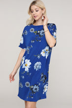 Load image into Gallery viewer, Royal Blue Floral Dolman Short Sleeve Boat Neck Dress