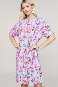 Pink and Aqua Abstract Dolman Short Sleeve Boat Neck Dress