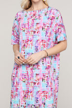 Load image into Gallery viewer, Pink and Aqua Abstract Dolman Short Sleeve Boat Neck Dress