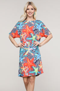 Coral and Blue Starfish Dolman Short Sleeve Boat Neck Dress