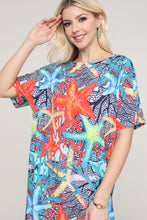 Load image into Gallery viewer, Coral and Blue Starfish Dolman Short Sleeve Boat Neck Dress