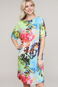 Multicolor Splatter Dolman Short Sleeve Boat Neck Dress