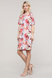 Ivory and Pink Floral Abstract Dolman Short Sleeve Boat Neck Dress