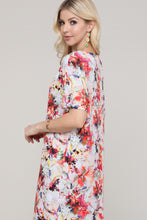 Load image into Gallery viewer, Ivory and Pink Floral Abstract Dolman Short Sleeve Boat Neck Dress