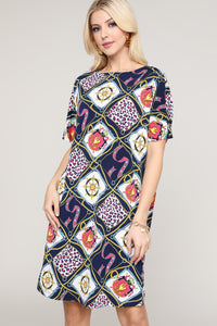 Navy & Pink Abstract Short-Sleeve Dress
