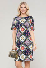 Load image into Gallery viewer, Navy & Pink Abstract Short-Sleeve Dress