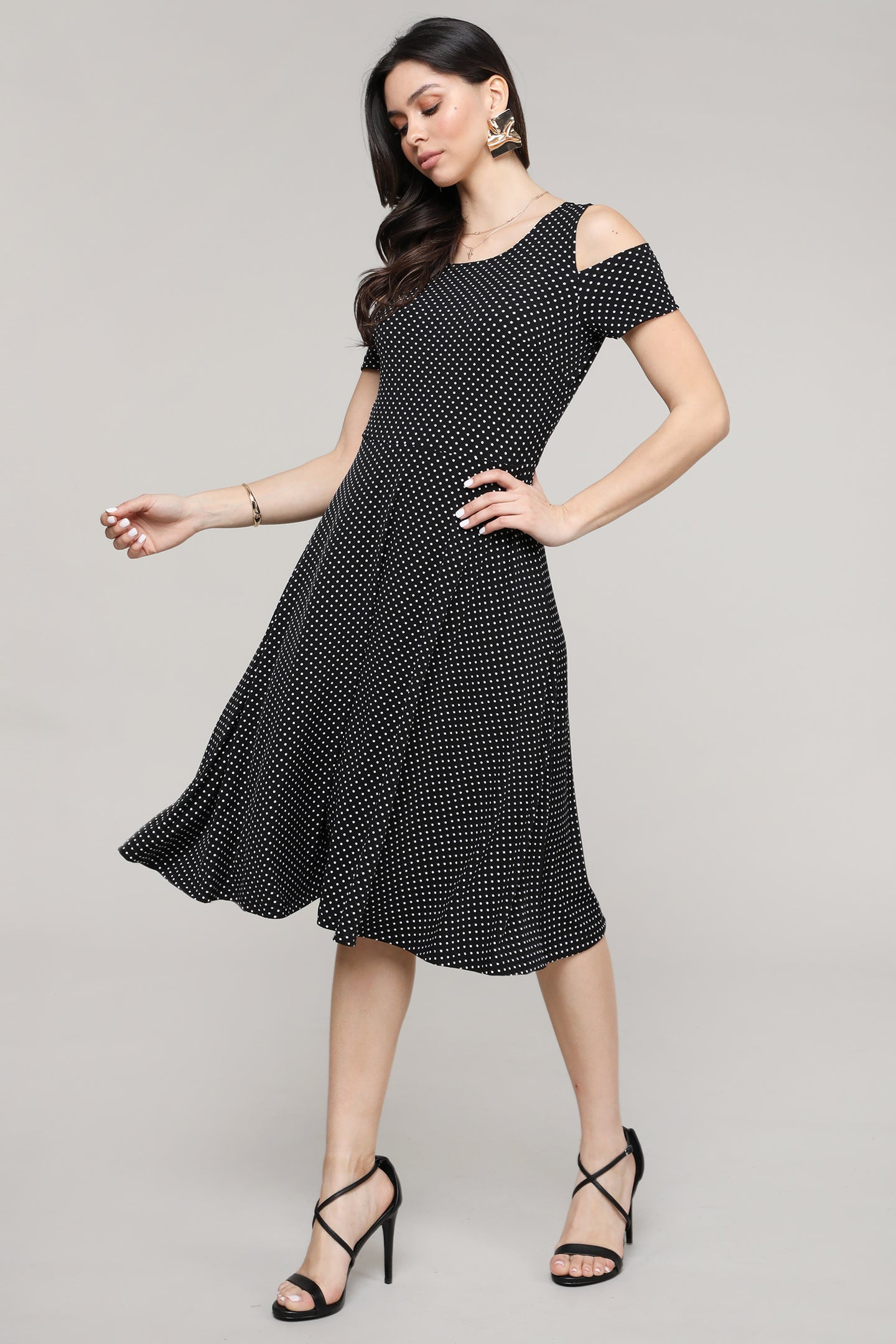 Polka-Dot Cold-Shoulder Fit & Flare Dress