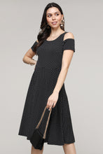Load image into Gallery viewer, Polka-Dot Cold-Shoulder Fit & Flare Dress