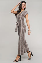Load image into Gallery viewer, Snakeskin Printed Surplice Short Sleeved Jumpsuit
