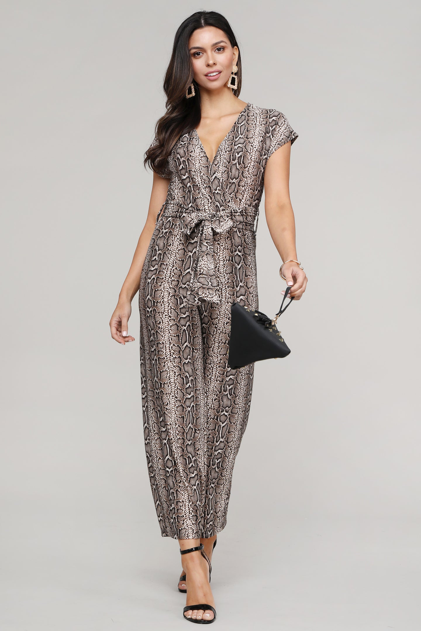 Snakeskin Printed Surplice Short Sleeved Jumpsuit