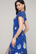 Load image into Gallery viewer, Floral Cap-Sleeve Side-Slit Dress