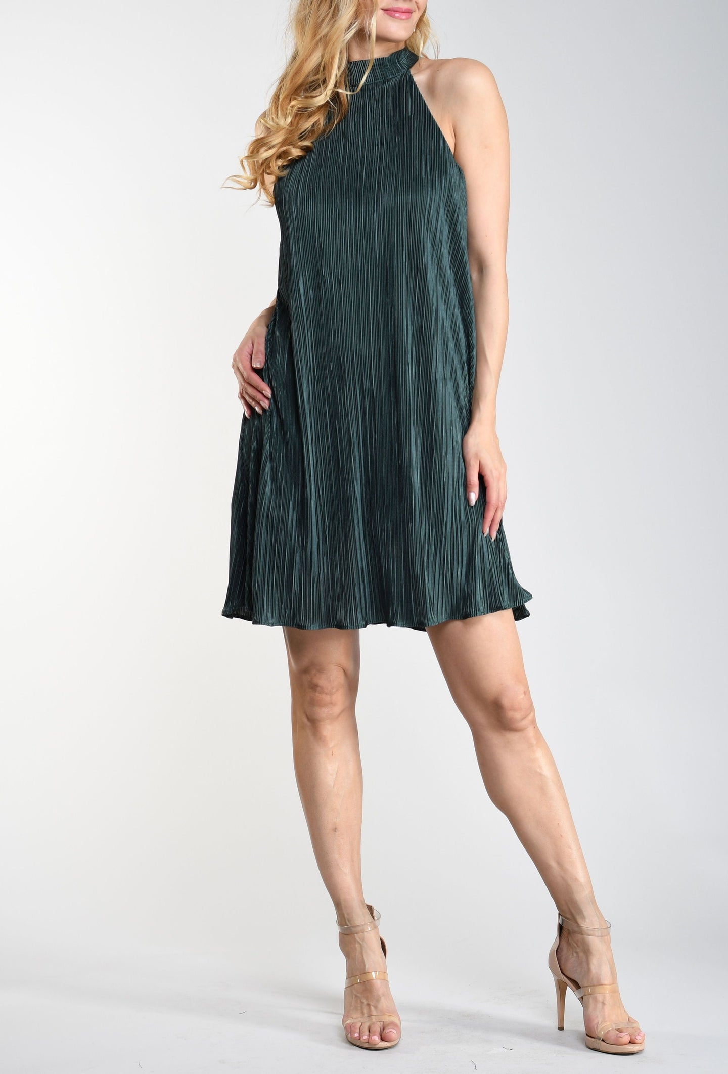 Green Halter Tie-Back Dress