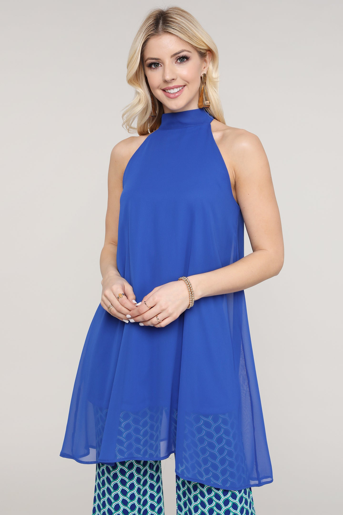 Royal Blue Chiffon Halter Tie Back Slip Underneath Tunic