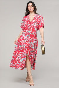 Red Floral V-Neck Bat Sleeve Dress