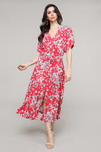 Load image into Gallery viewer, Red Floral V-Neck Bat Sleeve Dress