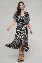 Load image into Gallery viewer, Animal Abstract V-Neck Bat Sleeve Dress