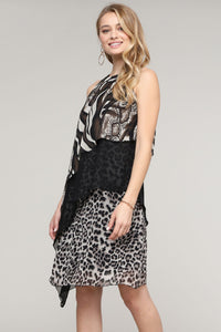 Animal Abstract Halter Chiffon Dress