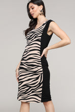 Load image into Gallery viewer, Cap Sleeve Black & Cream Animal Print Dress