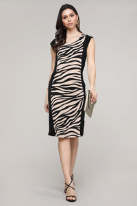 Cap Sleeve Black & Cream Animal Print Dress