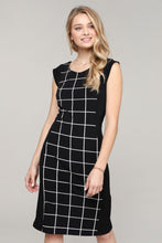 Load image into Gallery viewer, Cap-Sleeve Black & Ivory Abstract Dress