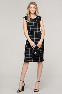 Cap-Sleeve Black & Ivory Abstract Dress