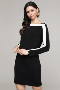 Black & Ivory Strip Boatneck Dress