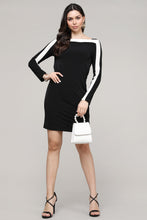 Load image into Gallery viewer, Black & Ivory Strip Boatneck Dress