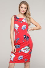 Load image into Gallery viewer, Sleeveless Red Floral Dress