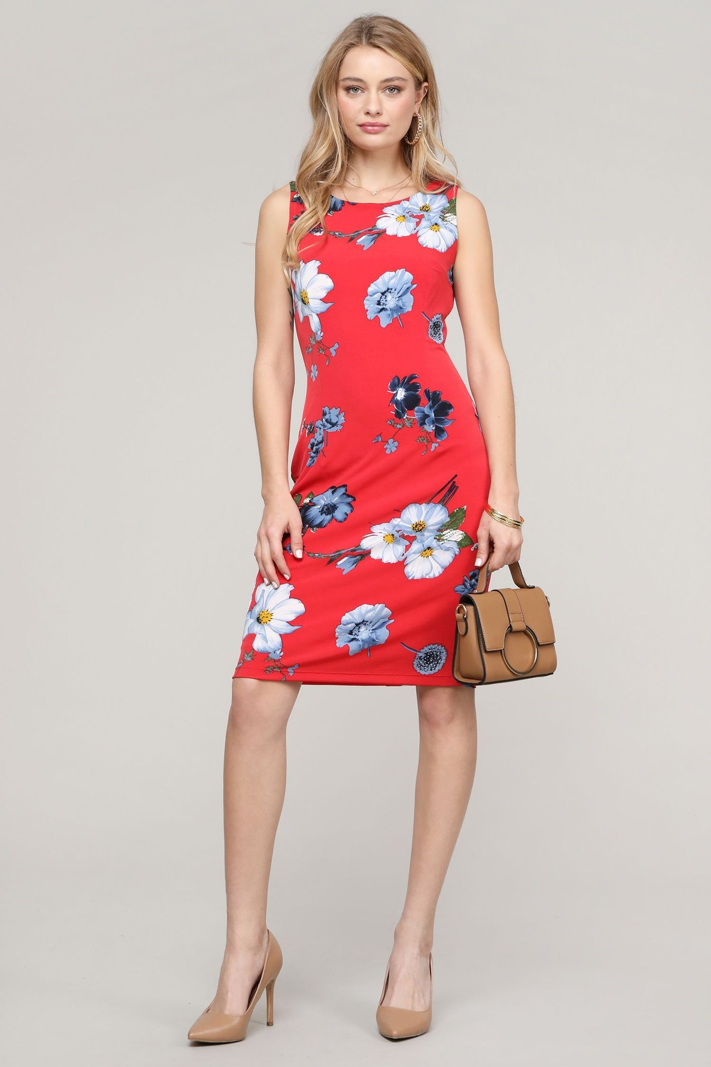 Sleeveless Red Floral Dress