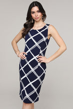 Load image into Gallery viewer, Sleeveless Navy Windowpane Abstract Dress