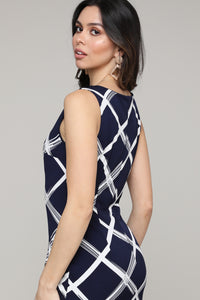 Sleeveless Navy Windowpane Abstract Dress