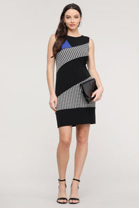 Sleeveless Black & Royal Blue Hounds tooth Abstract Dress