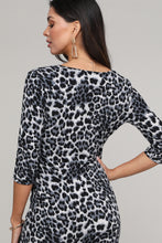 Load image into Gallery viewer, Black & Animal Print Ruffled Surplice Dress