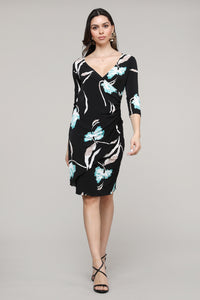 Floral Ruffled Surplice Dress